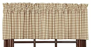"""Victorian Heart """"Khaki Check"""" Country Cottage Lined Valance"""