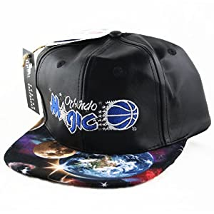Orlando Magic Leather Custom Galaxy Snapback Hat Cap by Agora Vintage