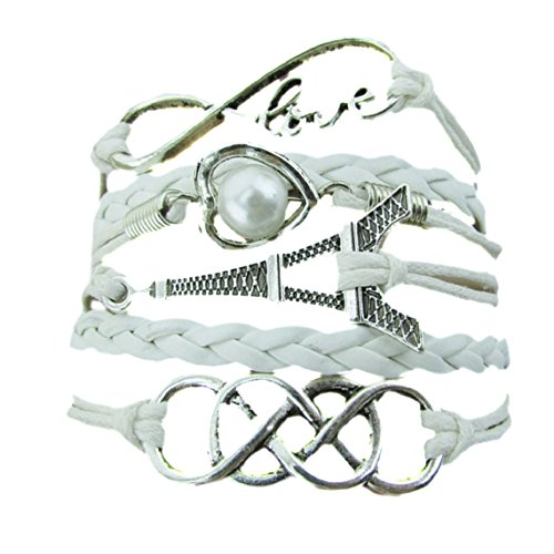 Meily(TM) New Infinity Love Heart Eiffel Tower Friendship Leather Charm Bracelet