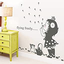 EMIRACLEZE Christmas Gift Holiday Shopping Blow Bubbles Girl Removable Mural Wall Stickers Wall Decal for Kids Nursery Room Wall Decor