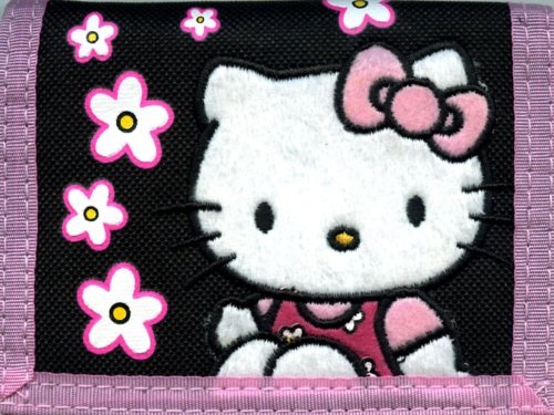 Sanrio Hello Kitty Flower Tri-fold Wallet (Black)
