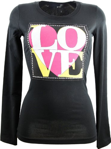 Love Moschino Black Diamanté Long Sleeve T-Shirt