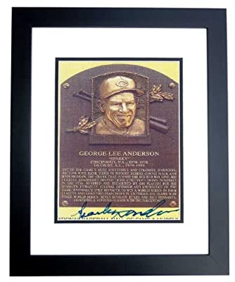 Sparky Anderson Autographed / Hand Signed Detroit Tigers 4x6 Photo - BLACK CUSTOM FRAME - Deceased Hall of Famer - 3x World Series Champion