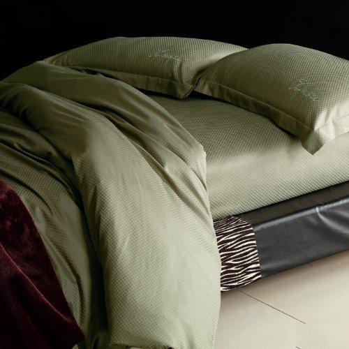 100% Cotton Green Grid Double Duvet Cover Set inc. Sheet