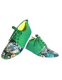 Lee Shine Women Lace Up Green Colour Sneakers