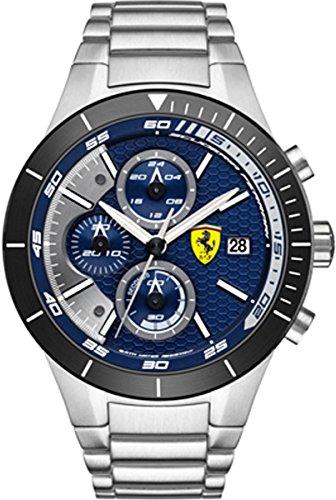 Ferrari 0830270 -Orologio da polso uomo, Rev Evo al quarzo in acciaio inox, 46 mm