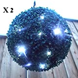 2 x Large Solar Powered Buxus Topiary Ball 38cm - 30 x Led lights