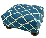 Blue and White Rope Upholstered Footstool Ottoman with Coordinated Blue and White Rope Decorative Throw Pillow - Made in the USA