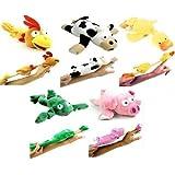 5pc Set Of Slingshot Flingshot Flying Barnyard Animals With Sound Pig Chicken Cow Duck Frog