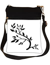 Snoogg Design Element Graphic Drawing Of A Brunch With Leaves Cross Body Tote Bag / Shoulder Sling Carry Bag