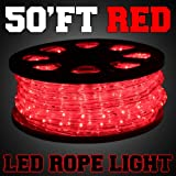 50ft Red Color LED Rope Light 2-Wire Flexible Home Outdoor Christmas Decorative
