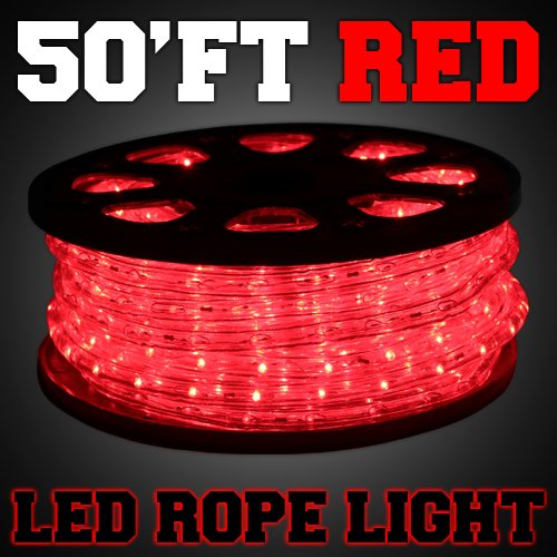 50'ft Red Color LED Rope Light 2-Wire Flexible Home Outdoor Christmas Decorative