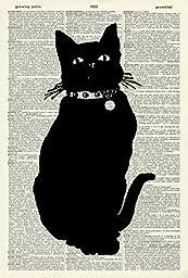 BLACK CAT ART PRINT - VINTAGE ART PRINT - ANIMAL Art Print - CAT Illustration - Black & White Print - Animal Print - Vintage Dictionary Art Print - Wall Hanging - Housewares - Book Print 514D