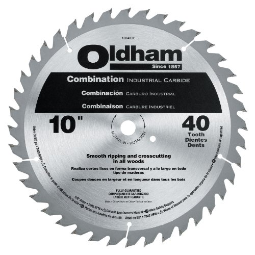 Oldham 10040TP All Purpose 10-Inch 40 Tooth ATB Combination Saw Blade with 5/8-Inch Arbor