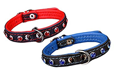 Peak Pooch Premium European Handmade Leather Strong Dog Collar, Studded Quality Crystal Bling Jewels, Soft Padded Rolled Comfort- Black (Colors: Blue or Red Accents; Sizes: X-Small, Small)