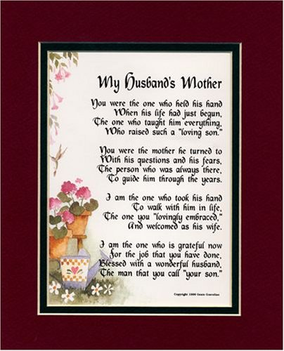 Wedding Day Gift Quotes : Gift For A Mother-in-law. Touching 8x10 Poem, Double-matted in ...