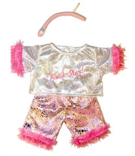 Visit Girl Rock Star with Microphone Outfit Teddy Bear Clothes Fit 14