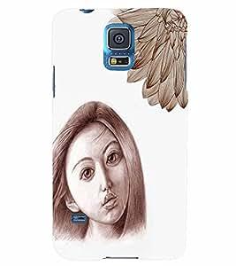 PrintVisa Stylish Cool Girl Sad Sketch 3D Hard Polycarbonate Designer Back Case Cover for Samsung Galaxy S5