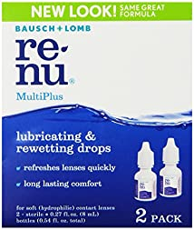 Bausch & Lomb ReNu MultiPlus Lubricating & Rewetting Drops 2-Count 0.27-Ounce Bottles