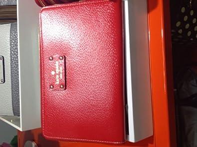 Kate Spade Wellesley Zip Travel Texture Leather Zip Around Wallet Red