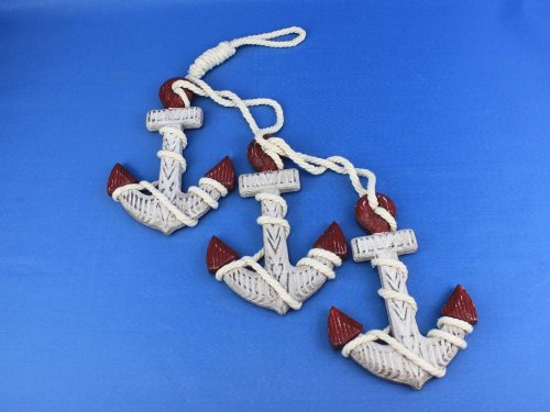 "Wooden Rustic Red Triple Anchor Set 7"" Wooden Anchor Decoration, Anchor Wall Décor, Nautical Accessories, Anchor Wall Hanging, Nautical Decorating Ideas"