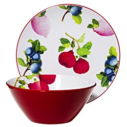 Whim by Cynthia Rowley Melamine Bowl and Platter Set - Fruit Print