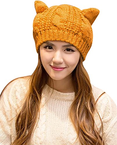 Womens-Hat-Cat-Ear-Crochet-Braided-Knit-Caps