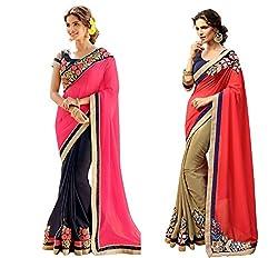 Pragya creations Women's Chiffon Saree (Prag32_Multi)-pack of 2