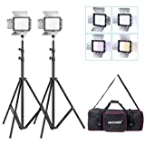 Bestlight® W160 LED Photo Studio Barndoor Light Continuous Lighting Panel Kit,Include:(2)W160 LED Barndoor Video Light(3)Color Filter(White&Yello