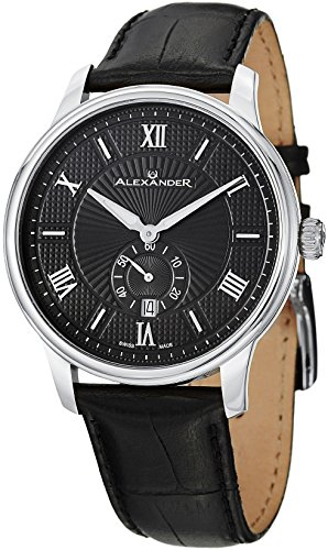 - 51xoFTF92pL - Alexander Statesman Regalia Men's Black Dial Black Leather Strap Swiss Made Watch A102-02