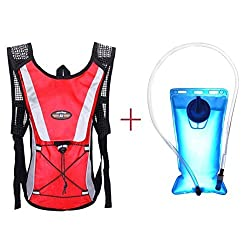 Hydration Pack Keepfit Hydration Pack Hydration Pack with 2 L Backpack Water Bladder for Hiking Running Biking Red