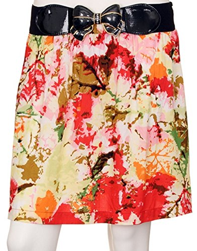 Juniors Abstract Floral Print Rayon Skirt with Elastic Belt and a Metal Belt Buckle (Medium)
