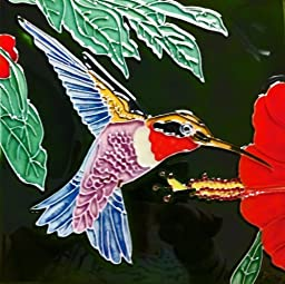 Continental Art Center BD-0153 8 by 8-Inch A Single Multi Color Hummingbird with a Hibiscus Flower Ceramic Art Tile