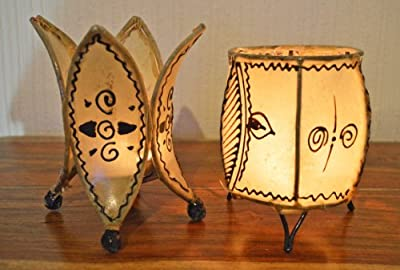 Set of 2 Candle Holders, Moroccan Henna Candle Holder-Ball & Flower - 16cm CREAM