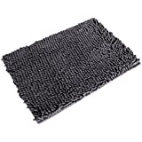 MECO Gray Soft Shaggy Non Slip Absorbent Bath Mat Bathroom Shower Rugs Carpet