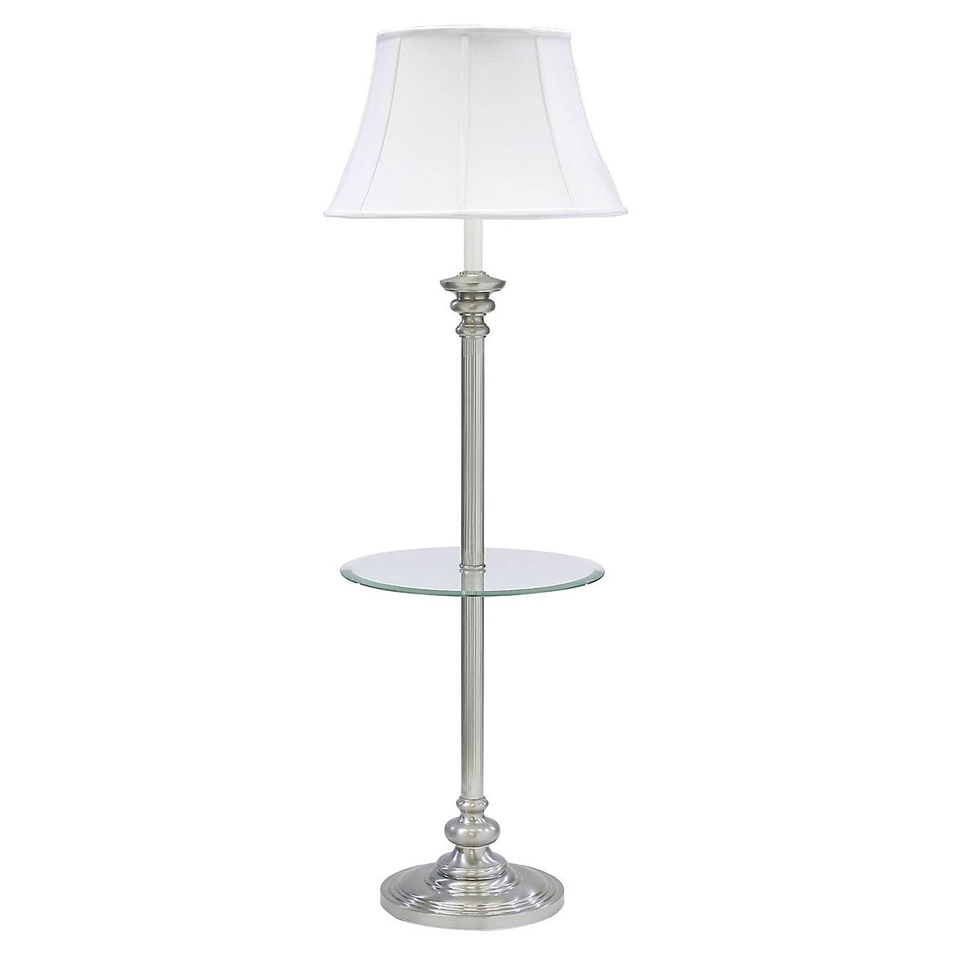 floor lamp with table antique brass with off white softback shade. Black Bedroom Furniture Sets. Home Design Ideas