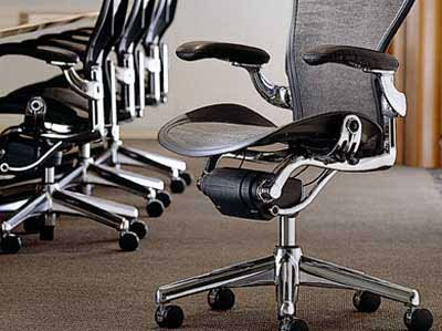 Aeron Chair Aluminum Frame Leather Arms by Herman Miller Home Office Desk  Task Chair Fully Loaded