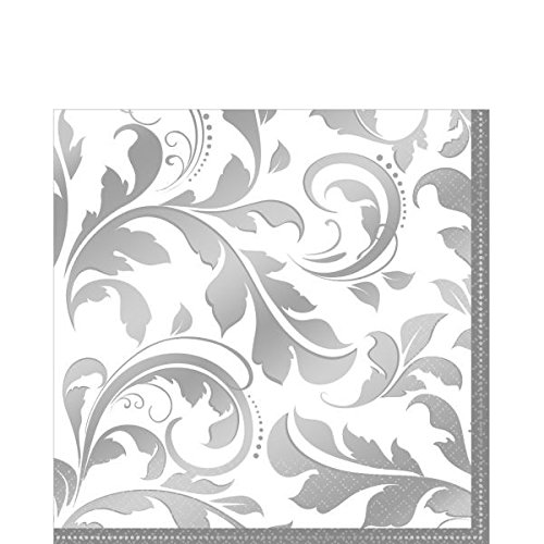 Amscan Stylish Wedding Party Lunch Napkins (16 Piece), 6.5 x 6.5