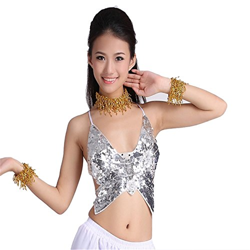Belly Dance Costume Set Sexy Backless Butterfly Top& Dance Coins Skirt white (Sexy Belly Dance Costumes)