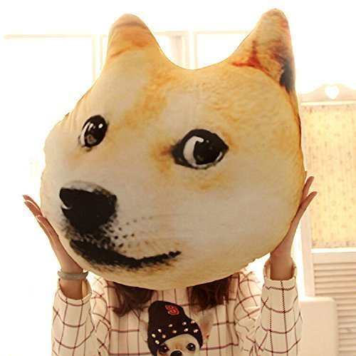Mkono Decorative Throw Pillow 3D Effect Akita Husky Doge Dog Head Cartoon Sofa Cosplay Throw Pillow Car Cushion Nap pillow seat cushion, Lovely Cate Stuffed Toys,Yellow Akita,Medium