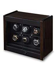 Avanti 6 Watchwinder With Two Storage Drawers in an Exotic Macassar Veneer and Geniune Carbon Fiber Trim Cabinet