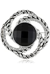 """Napier """"Giftable"""" Silver-Tone and Jet Crystal Oval Pin"""