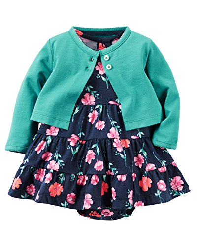 Carter's Baby Girls' 2 Piece Floral Dress Set Green/Navy Flowers-9M