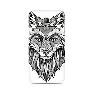 High Quality Printed Cover Case for Samsung A3 Model - Line Art Wolf