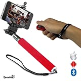 Zonabel Selfie Stick - No 1 Best Seller Extendable Monopod With Bluetooth Remote for iPhone & Android - Red