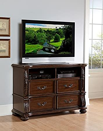 Preston TV Chest Pine Solid with Cherry Ash Burl Veneers by Homelegance