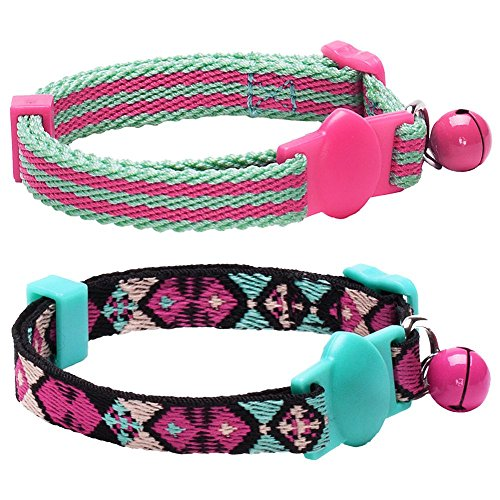 Blueberry Pet Pack of 2 Adjustable Breakaway Cat Collars with Geometric Design in Warm and Low-bright Colors