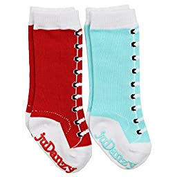 juDanzy baby & toddler & girls tall knee high socks Ballet, Mary Jane, Chevron (2 or 4 pk) (2-4 Years, Knee High Lace Ups)