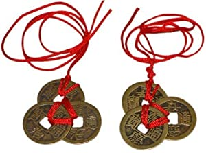 Chinese Red Enless Knot Feng Shui Coins to Attract Wealth and Health