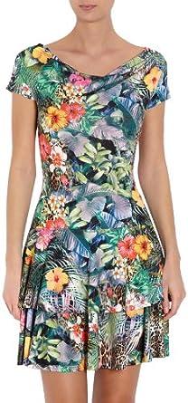 Morgan 141-RAZIL.N - Robe - Moulante - À fleurs - Manches courtes - Femme - Vert (Vert/Rouge) - FR: 42 (Taille fabricant: L)